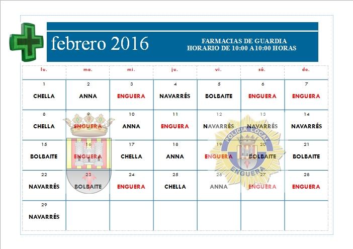FARMACIAS DE GUARDIA FEBRERO 2016