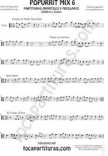 Mix 6 Partitura de Viola Estaba el Señor Don Gato, Todos los Patitos, Qué llueva Infantil, El Conde Olinos Mix 6 Sheet Music for Viola Music Score