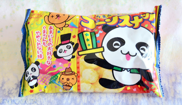Another treat in the September 2015 Skoshbox DEKAbox was a bag of Japanese panda corn puff snacks, which taste like cheese puffs.