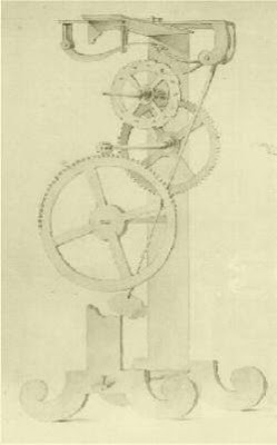 Galileo's Drawing of a pendulum clock