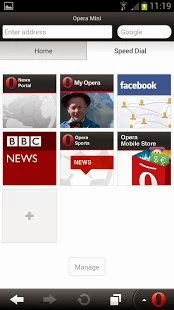Opera Mini browser for Android - screenshot