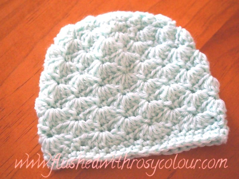 Flushed With Rosy Colour Tiny Shells Premmie Beanie Free Pattern