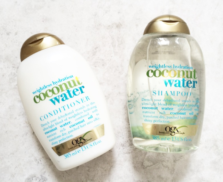 best product for frizzy hair, ogx coconut water