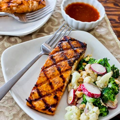 Grilled Salmon w/ Maple Siracha Lime Glaze