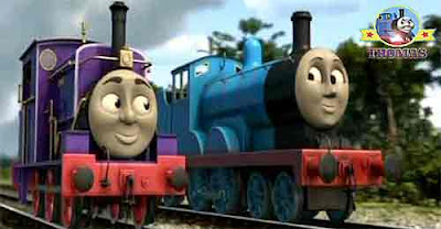 Charlie train and Edward the blue engine puffed out of the steamworks with the Fat Controller car