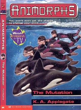 Book cover of The Mutation by K.A. Applegate. It shows a teen boy turning into a whale.