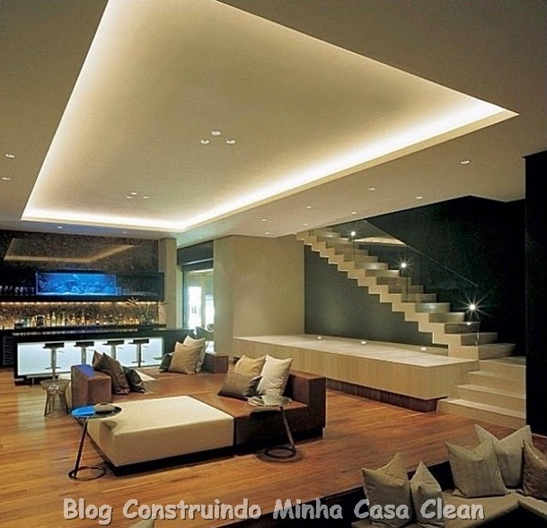Construindo minha casa clean 20 escadas modernas com for Sala de estar grande com escada