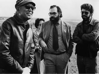 Akira Kurosawa with George Lucas and Francis Ford Coppola on sets of Kagemusha