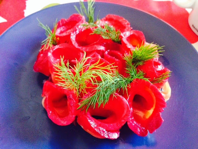 Jamie Oliver's beetroot and vodka gravad lax with dill