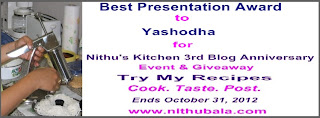 Best Presentation Award from Nithu's Kitchen for TRY MY RECIPES