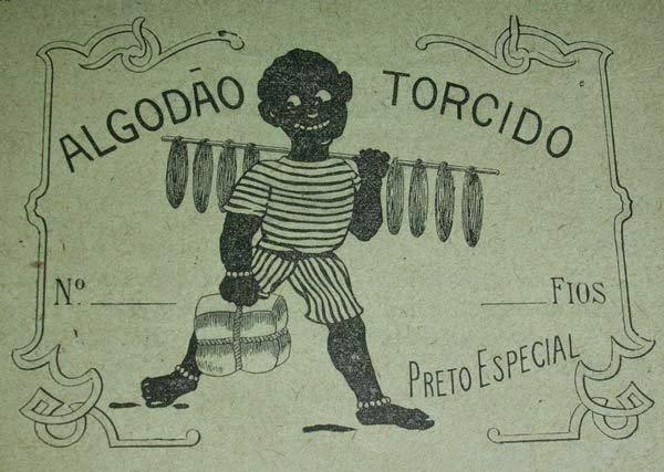 Propaganda do algodão torcido, com um negro apresentando o produto nos anos 20.