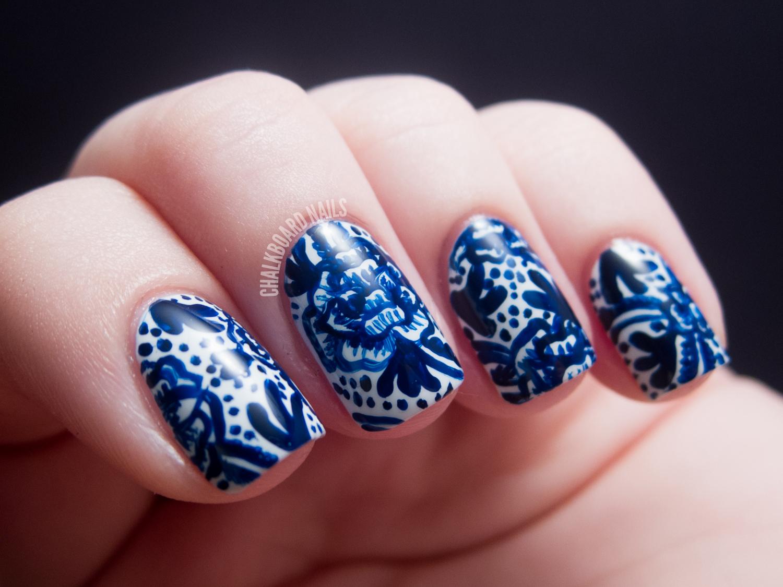 31dc2012 Day 05 Blue Nails Chalkboard Nails Nail Art Blog