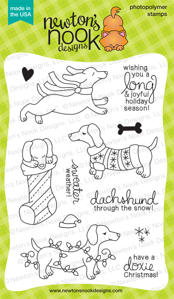 Holiday Hounds - 4x6 Holiday Dog (Dachshund) Stamp set by Newton's Nook Designs