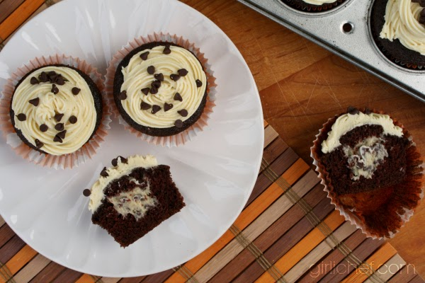 "Cookie Dough-Stuffed Dark Chocolate Cupcakes in ""13 Would-Be Blog Posts of 2013"" at www.girlichef.com"