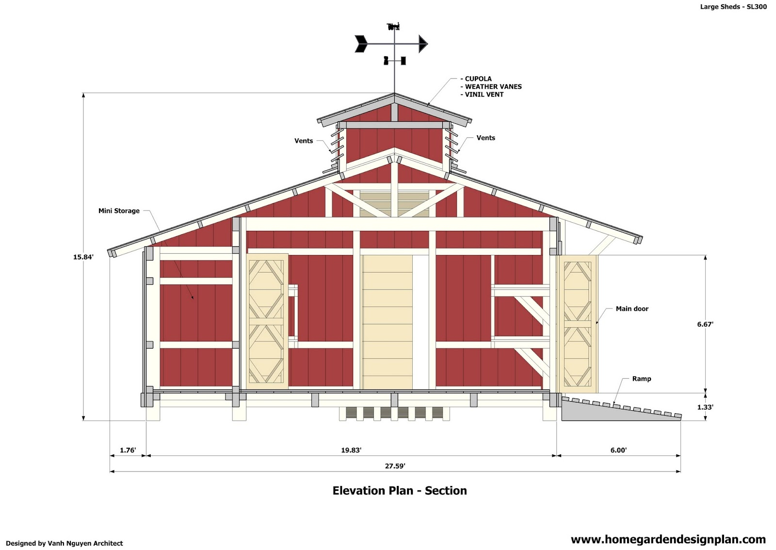 Home garden plans sl300 storage sheds plans garden for Plans for a barn