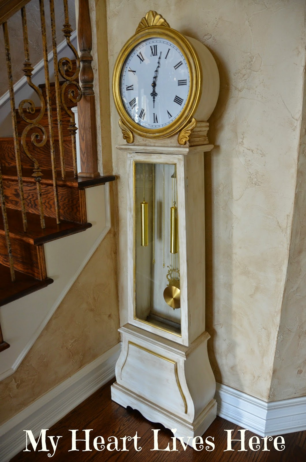 Chalk painted grandfather clock my heart lives here finally i painted the trim with plaid pure gold metallic and did a little more dark wax and sanding to get the distressed look amipublicfo Image collections