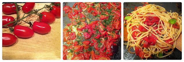 Espaguetis con tomates al horno