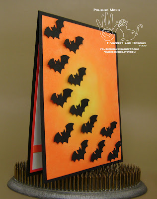 Picture of the front of my handmade bats Halloween card set at a right angle to show dimensional elements