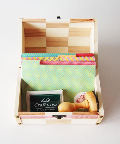 caja de recetas de madera