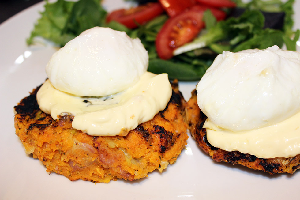 Sweet potato, leek and bacon cakes | Tam Loves Tea