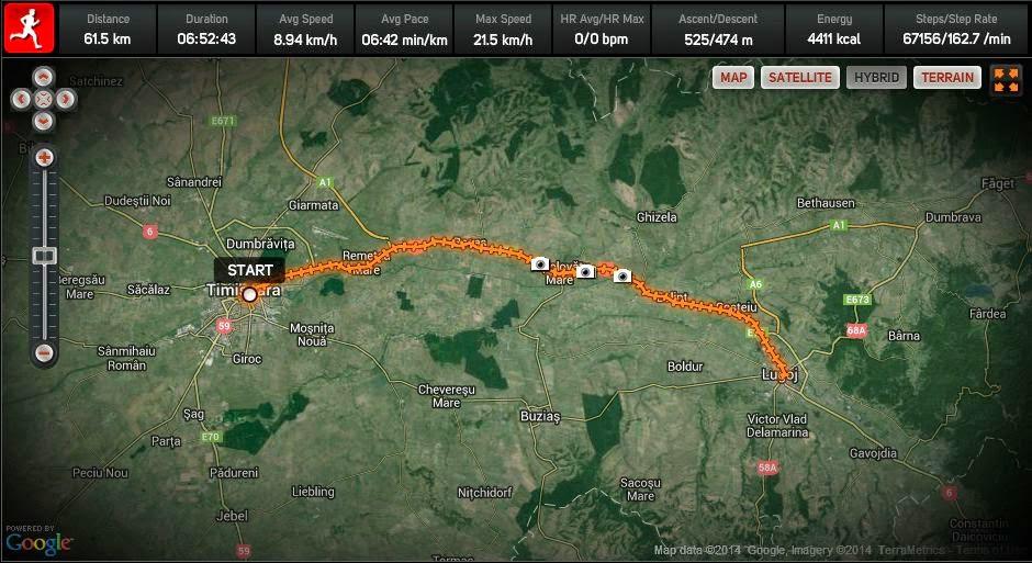 Cum am alergat 61 km alături de Vasile Stoica pe traseul Timişoara - Lugoj. Când visele devin realitate. Harta