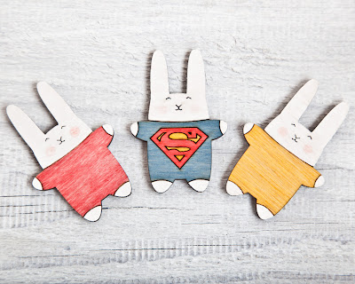 set of three rabbit refrigerator magnets