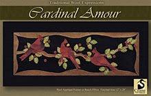 """Cardinal Amour Runner Wool Applique 12"""" x 28"""""""
