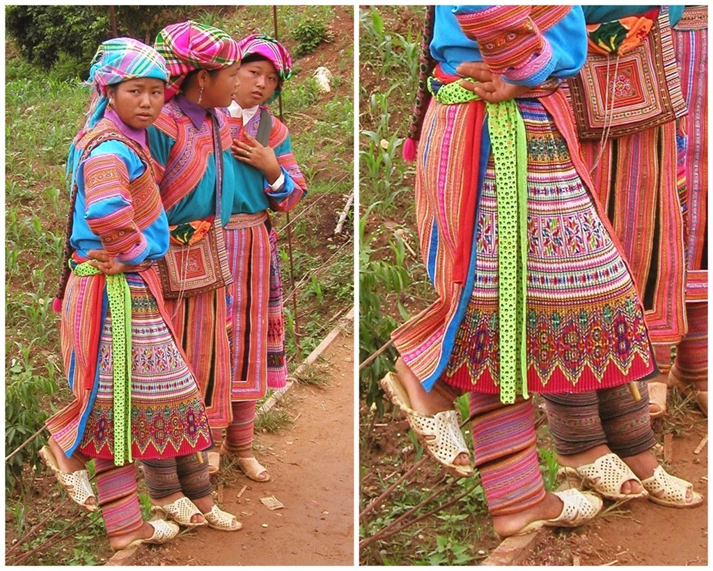 Flower hmong people pleated skirts