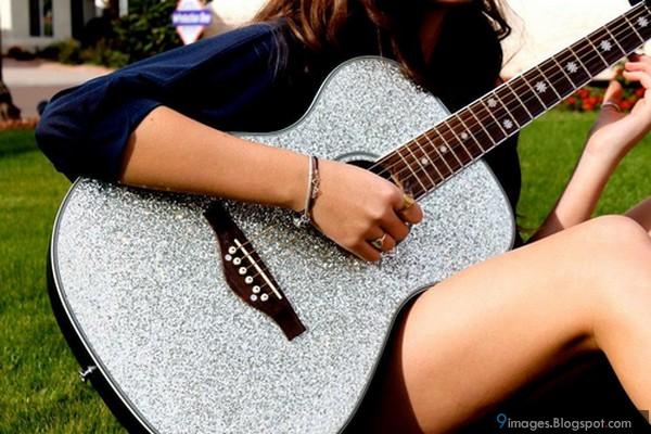 Cute, girl, playing, guitar, rocking