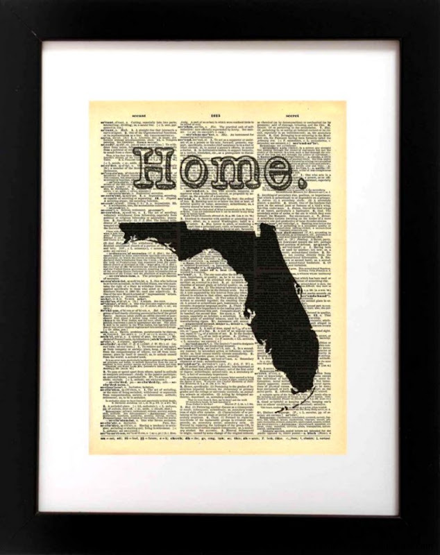 Florida State Vintage Map Print 8x10   Recycled Art – Local