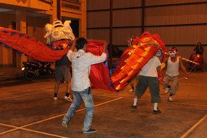 Lion dance in Than Uyên town