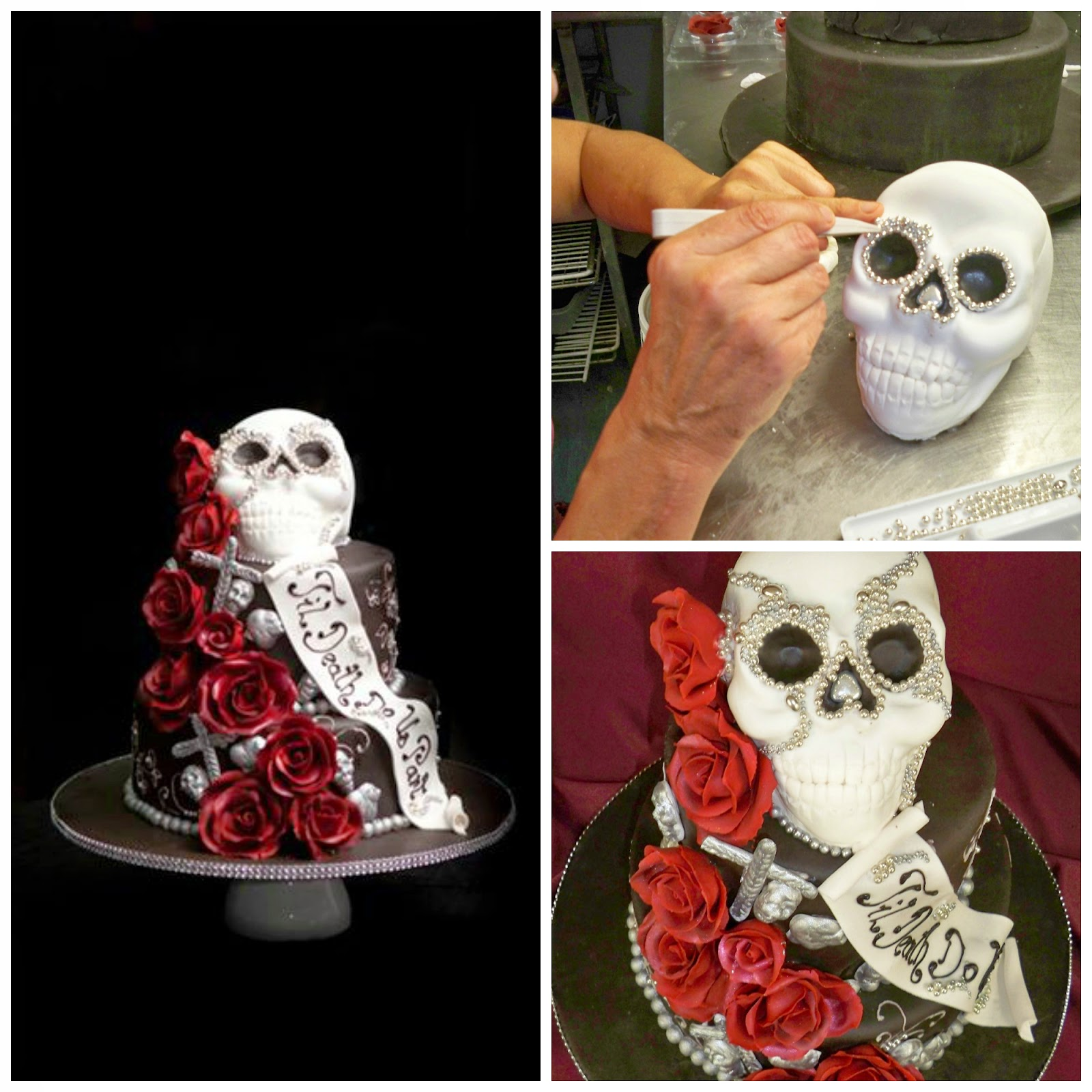 Black And White Skull Wedding Cake