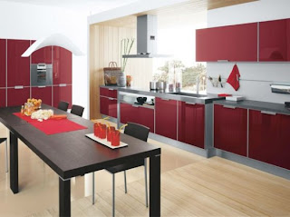 red kitchen cabinets design