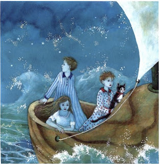 three little children sailing a wooden shoe on a stormy sea