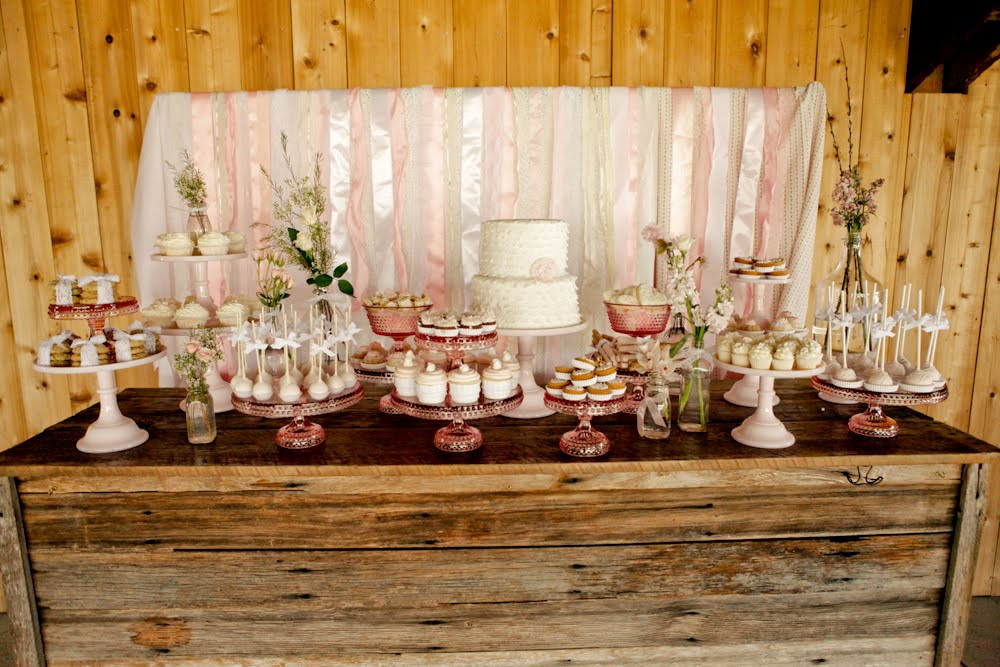 Vintage Pink Shabby Chic Dessert Table Wedding Decor