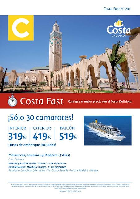 mejor oferta de crucero 2x1 con Costa Fast