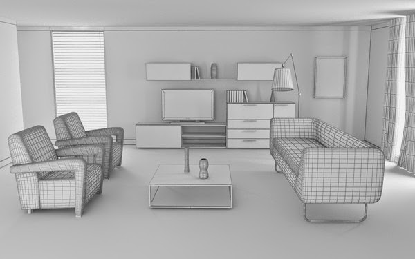 3d model of living room home decor and design for Model living room design