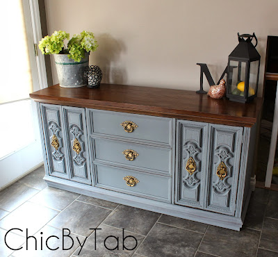 grey chalk paint sideboard chest makeover
