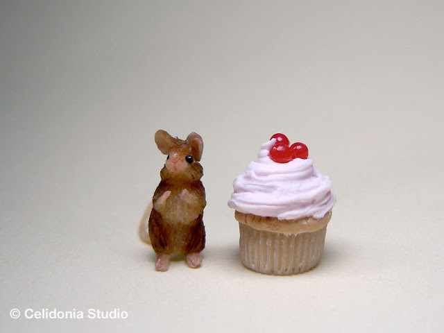 miniature mouse in polymer clay