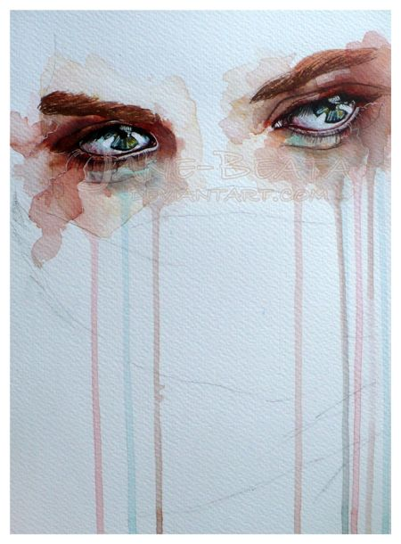 Jana Lepejova jane-beata deviantart pinturas aquarela mulheres olhares femininos Esquecida
