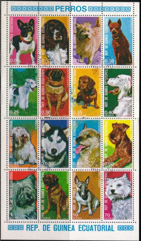 1977年に赤道ギニア ラークノア ブル・テリア パグ エアデール・テリア フォックス・テリア イングリッシュ・セター ダックスフンド フレンチ・ブルドッグ レオンベルガー ミニチュア・ピンシャーなど16犬種の切手シート