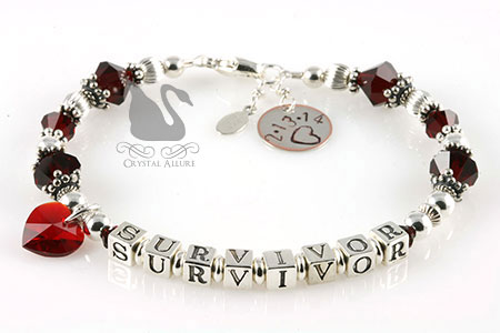 Kathy's Custom Red Heart Transplant Survivor Bracelet (BA218-II)