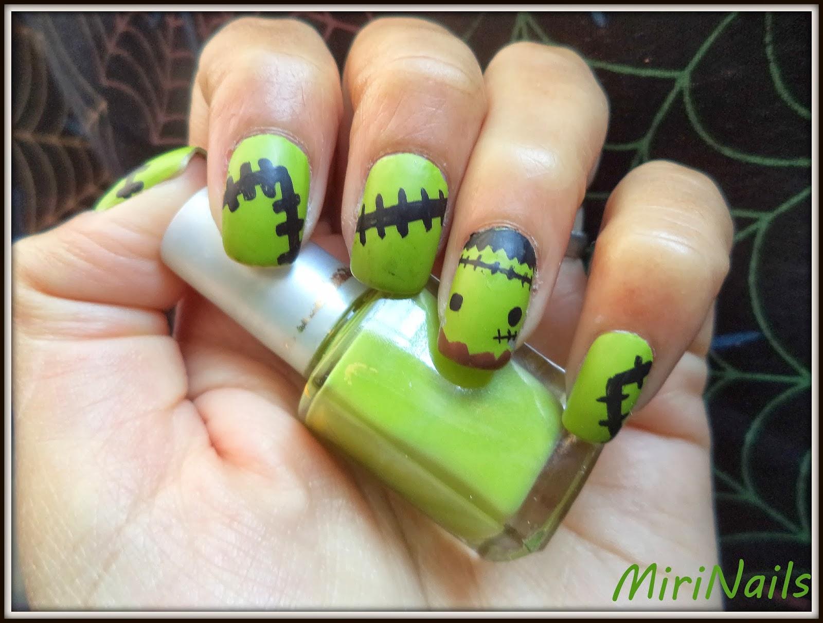 MiriNails: #ManisdeHalloween: Calabazas y Frankenstein