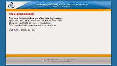 IRCTC session Expired Error