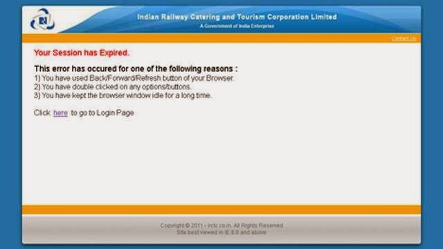 irctc login session expired