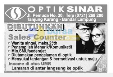 Lowongan Kerja Lampung, Sabtu 25 Oktober 2014 di OPTIK SINAR