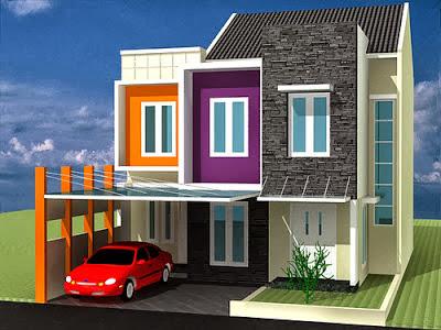 Cat Rumah Minimalis Warna Ungu , orange, oranye, menawan