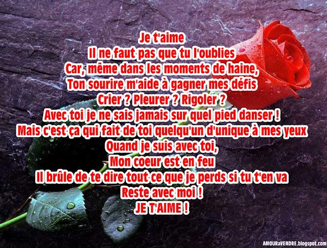 poème d'amour chérie