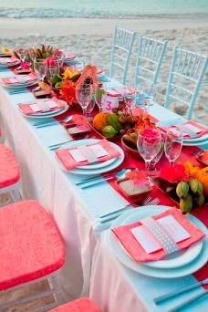 Fabulous Light Blue And Bright Pink Table Setting Courtesy Of Raspberry Wedding