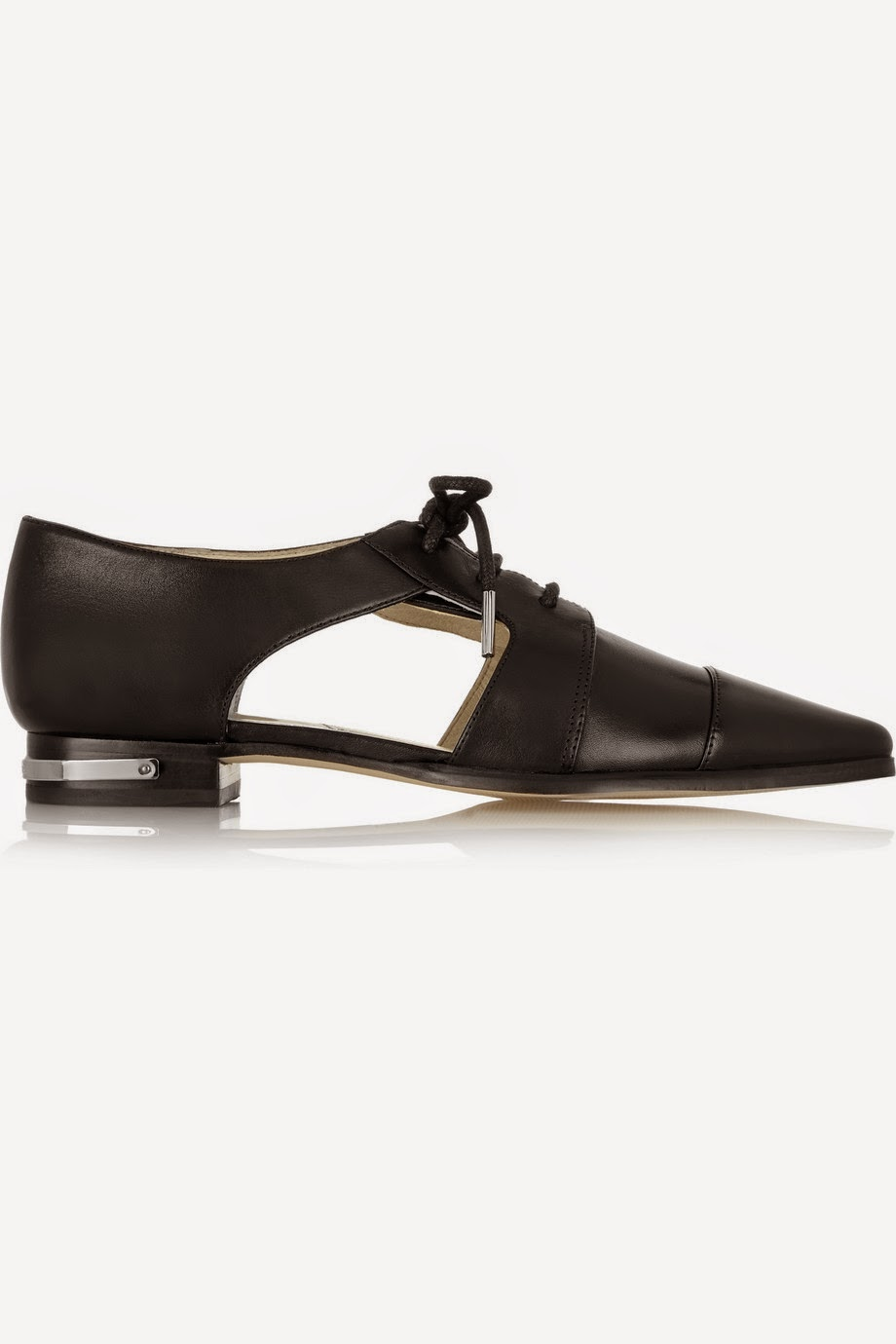 michael hors black pointed flats, michael hors tie flats, michael kors graham, black cutout shoes,